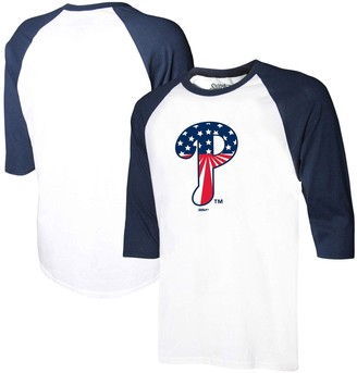 Stitches Men's White/Navy Philadelphia Phillies Stars & Stripes Americana Raglan 3/4-Sleeve T-Shirt