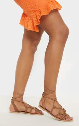 PrettyLittleThing Tan Knot Strappy Leather Sandal