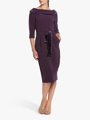 Helen McAlinden Mirren Cowl Neck Knee Length Dress, Mulberry