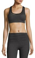 Beyond Yoga Mesh Behavior Strappy-Back Sports Bra, Heather Gray