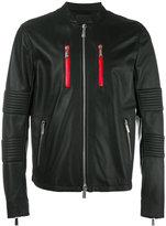 Marcelo Burlon County of Milan banded collar leather jacket - men - Lamb Skin/Polyester/Cotton - M