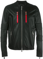 Marcelo Burlon County of Milan banded collar leather jacket