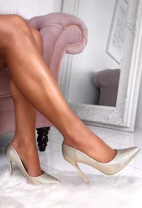 Pink Boutique Cosmic Gold Textured Metallic Court Shoes