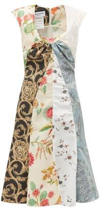 Marine Serre Drapery Upcycled Cotton-poplin Dress - White Multi