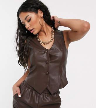 UNIQUE21 pu croc waistcoat-Brown