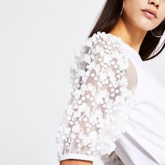River Island Womens White ruffle sequin mesh sleeve T-shirt
