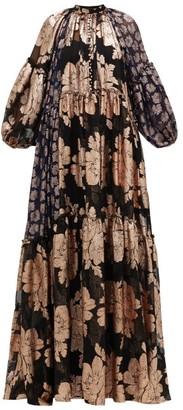 Biyan Geradielle Floral Fil-coupe Chiffon Gown - Black Navy