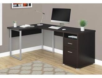 Darcio 2 Drawer L-Shape Corner Desk Latitude Run Color: Cappuccino/Chrome