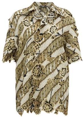 Edward Crutchley Laser-cut Floral-jacquard Wool Top - Womens - Brown Multi