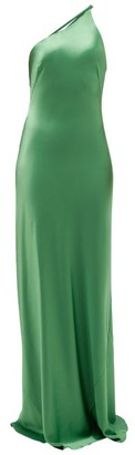 Galvan Roxy One-shoulder Satin Maxi Dress - Green
