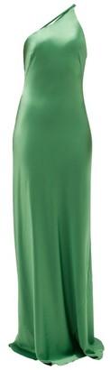 Galvan Roxy One-shoulder Satin Maxi Dress - Womens - Green