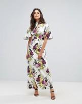 Liquorish Flower Print Frill Sleeve Maxi Dress