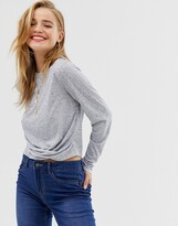 Pieces long sleeve knot top