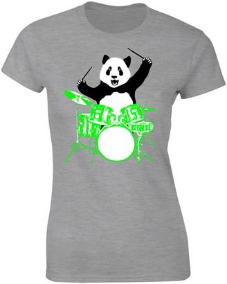 Flip Womens Panda Bear Playing Drums T-Shirt Heather Grey UK 10-12 (L)
