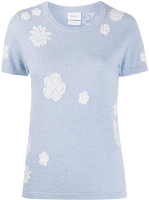 Barrie Flower Pattern Round Neck Top