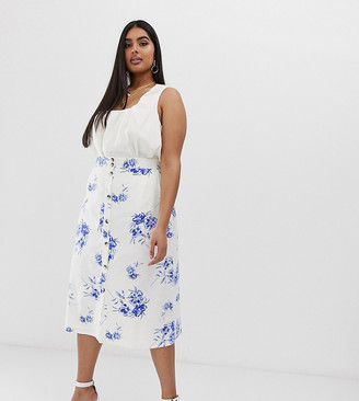 Neon Rose Plus button down midi skirt in floral-Blue