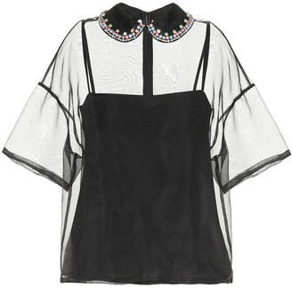 RED Valentino Embellished silk-organza blouse
