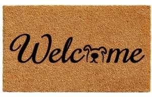 """Home & More Doggie Welcome 17"""" x 29"""" Coir/Vinyl Doormat Bedding"""
