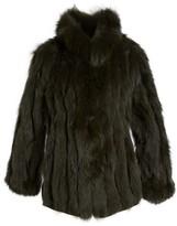 George Simonton Women's Reversible Silk & Genuine Fox Fur Topper