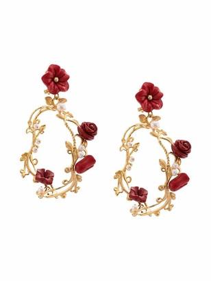 OF RARE ORIGIN Hand-Carved Floral / Gold Hoop Earrings