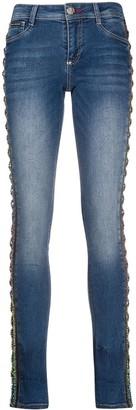 Philipp Plein Rhinestone-Embellished Mid-Rise Skinny Jeans