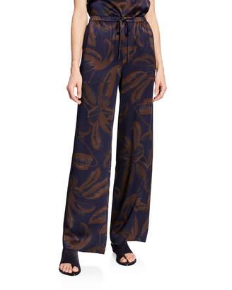 Vince Palm Leaf-Print Silk Satin Drawstring PJ Pants
