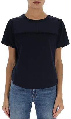 See by Chloe Cropped Scalloped Trim T-Shirt