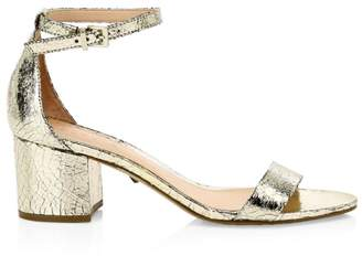 Schutz Chimes Crackle Leather Ankle-Strap Sandals
