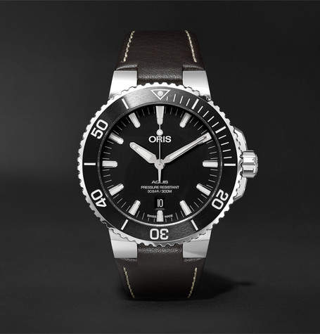 Oris Aquis 43mm Stainless Steel And Leather Watch