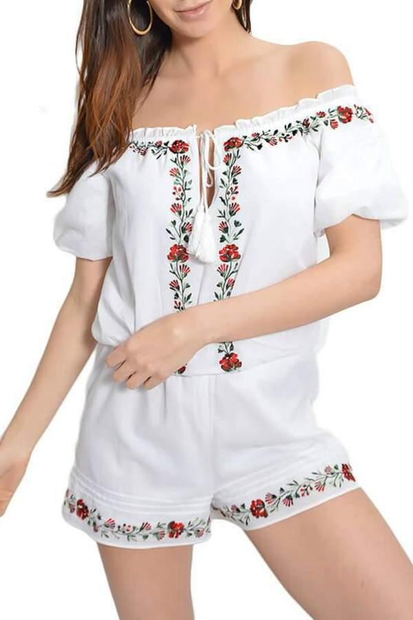 Saylor Floral Embroidered Romper