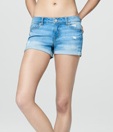 Light Wash Cuffed Denim Shorty Shorts