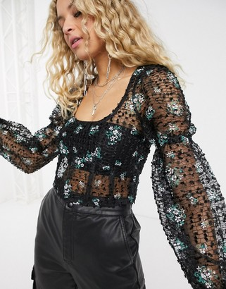 Topshop balloon sleeve embroidered blouse in black