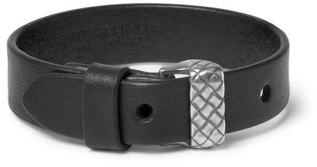 Bottega Veneta Leather and Silver-Tone Bracelet - Black