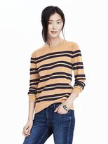 Banana Republic Italian Cashmere Blend Striped Crew Pullover