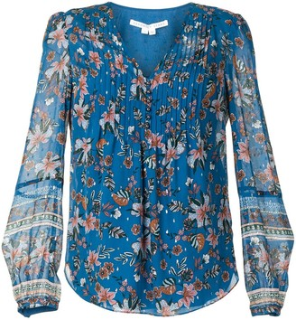 Veronica Beard Lowell pleated floral-print blouse