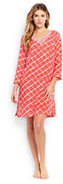 Lands' End Women's Petite Embroidered Woven Tunic Cover-up-Coral Bliss Atlantis Geo