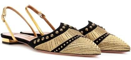 Aquazzura Marrakech embroidered suede mules