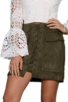 Prograce Woman Fitted Soft Faux Suede Big Pockect Tight Bodycon Mini Skirt S