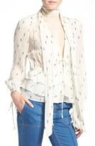 Olivia Palermo + Chelsea28 Tie Neck Peplum Silk Top