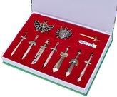 xcoser The Legend of Zelda Metal Shield & Sword Weapons Necklace Set of 11