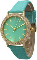 OLIVIA PRATT Olivia Pratt Womens Gold-Tone Rhinestone Accent Mint Denim Faux Leather Strap Watch 14087