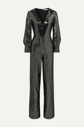 Alice + Olivia Lisa Sequined Satin Jumpsuit