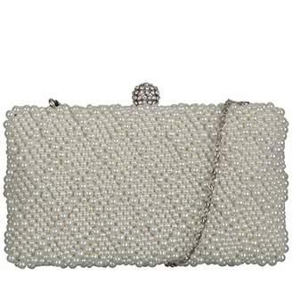 Claudia Canova Womens Hard Case-pearl Covered Diamante Clasp Clutch