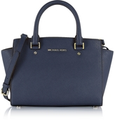 Michael Kors Selma Medium Admiral Saffiano Leather Top-Zip Satchel