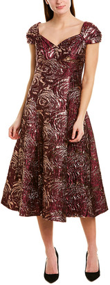 Teri Jon By Rickie Freeman Silk-Blend A-Line Dress