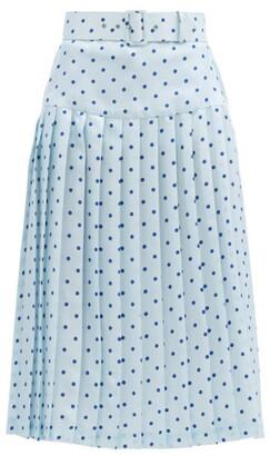 Rodarte Belted Pleated Polka-dot Satin-twill Midi Skirt - Blue Multi