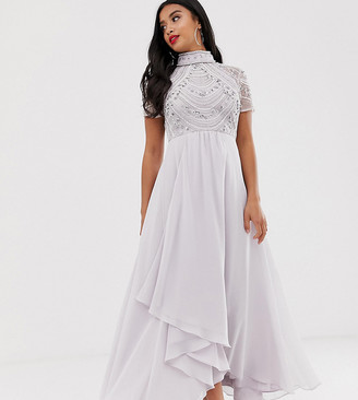 Asos DESIGN Petite embellished bodice maxi dress with short sleeve
