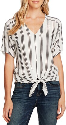 Vince Camuto Stripe Tie Front Short Sleeve Top