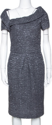 Chanel Grey Wool Felted Midi Dress M