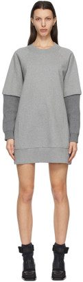 MM6 MAISON MARGIELA Grey Ribbed Sleeve Sweatshirt Dress